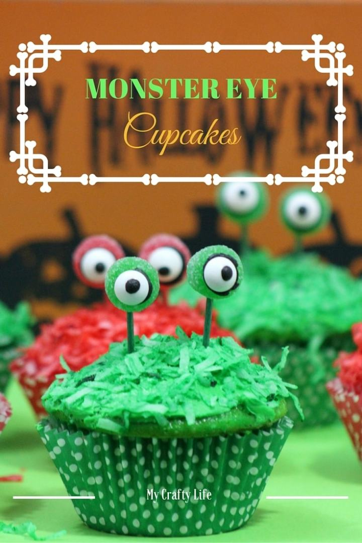 "Monster Eye Cupcakes Recipe - Add a little ""scare"" to your Halloween festivities with these adorable SCARY Monster Eyed Cupcakes"