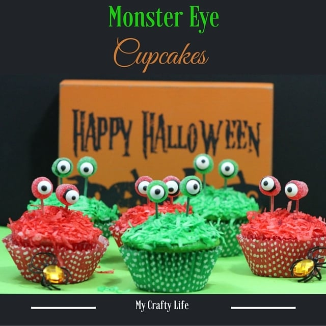 """Monster Eye Cupcakes Recipe - Add a little """"scare"""" to your Halloween festivities with these adorable SCARY Monster Eyed Cupcakes"""