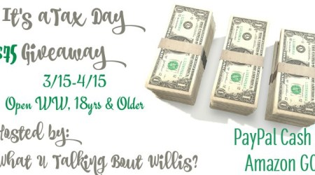 Tax Day #Giveaway – $75 Amazon or Paypal ends 4/15