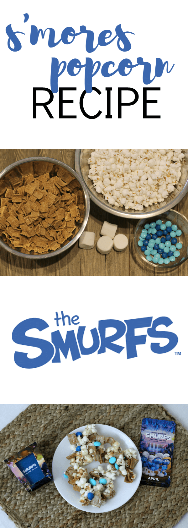 In honor of the new The Smurfs: The Lost Villiage movie my kids and I decided to make one of our favorite snacks, marshmallow popcorn. (ad)