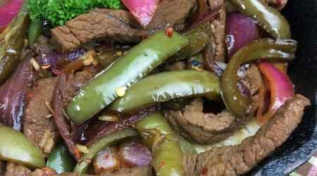 Spicy Cast Iron Skillet Steak and Peppers Recipe