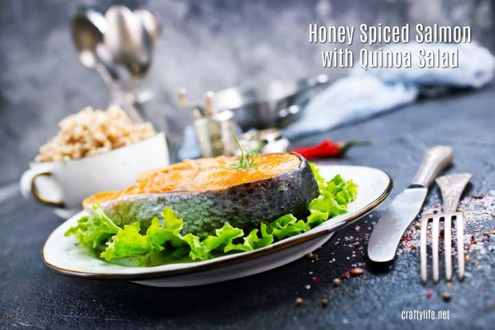 This healthy honey spiced salmon with quinoa salad recipe has a perfect combination of sweet and spicy for a flavorful, filling dinner. If you have any leftovers, it makes a great lunch as well, whether reheated or straight out of the fridge.