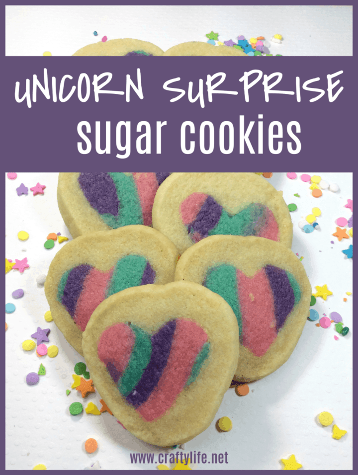 Unicorn Surprise Sugar Cookie Recipe - sugar cookies with a rainbow heart cutout surprise inside