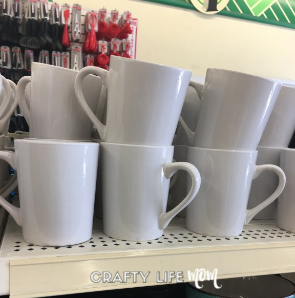 Ceramic mugs pefect for personalizing from the Dollar Tree to give as gifts. #dollarstoreDIYs