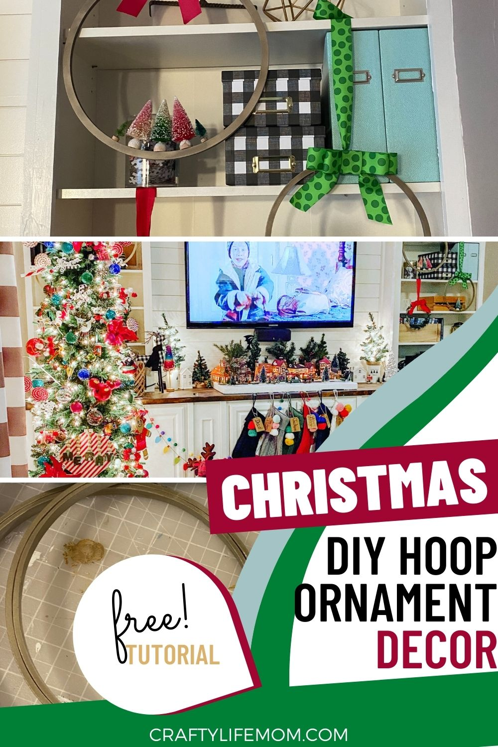 Create Your Own Christmas Hoop Ornament Decor using wooden embroidery hoops. Embellish with greenery, trees and ribbons to have a unique look on your wall or shelving.