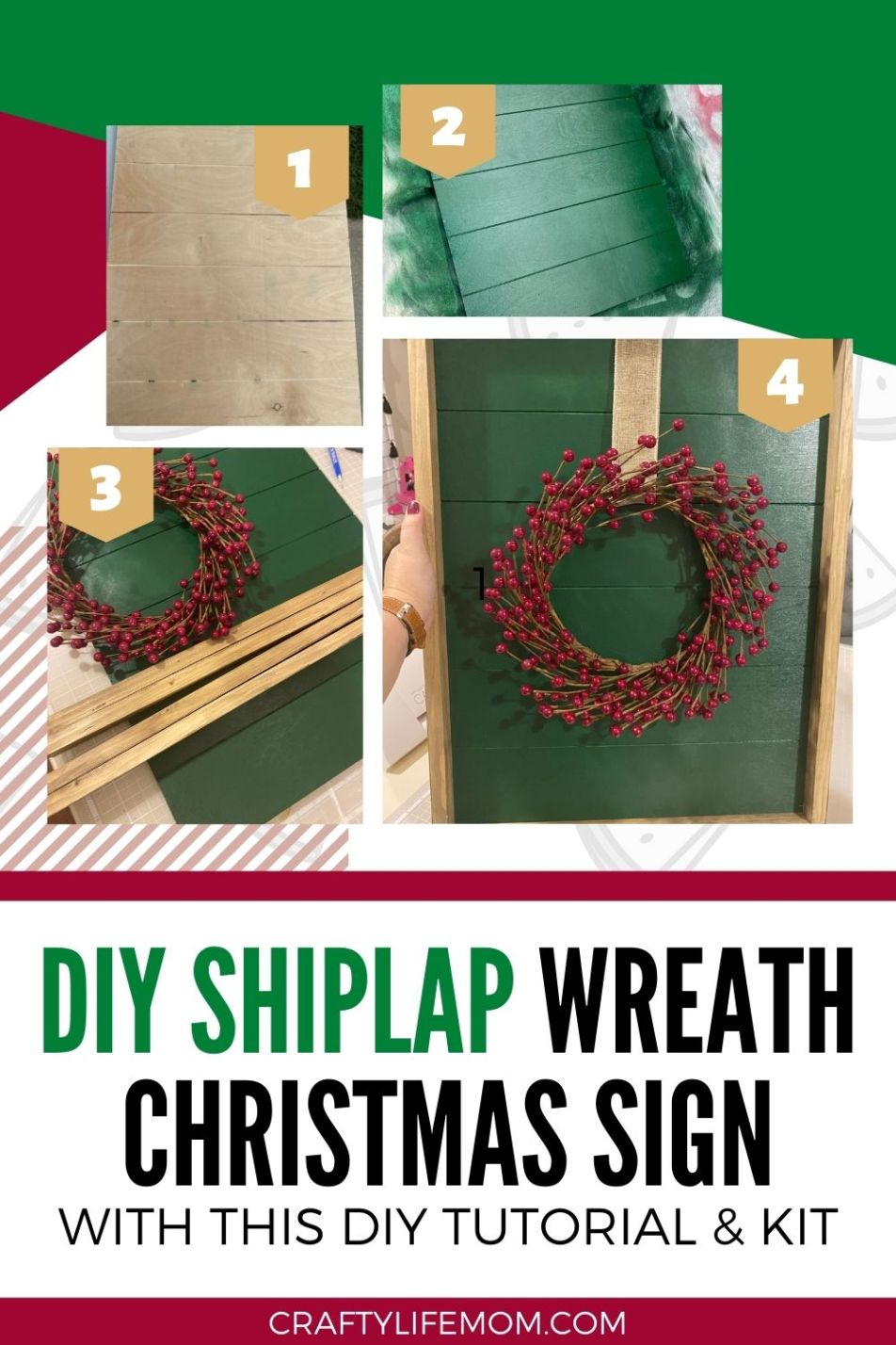 Create Your Own Christmas Wreath Shiplap Sign with a berry wreath using this DIY Kit.The kits come with everything you need to paint and make your own shiplap sign.Display the sign within your home decor for a unique Christmas wreath display.