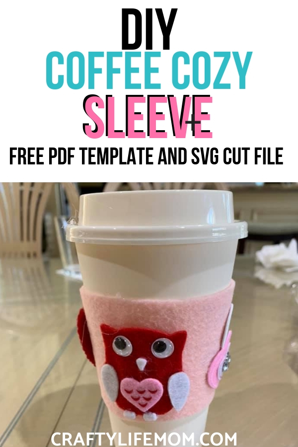 Learn how to make this cute DIY coffee cozy sleeve using just a few items. Tutorial includes free PDF template and SVG cut file. These take a few minutes to make and you can give them as gifts for your friends or even sell them at craft shows!