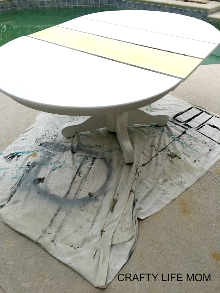 DIY Farmhouse Makeover. A tutorial on how to strip your old table and turn it into a farmhouse table you love. This post list supplies needed and simple and easy instruction.