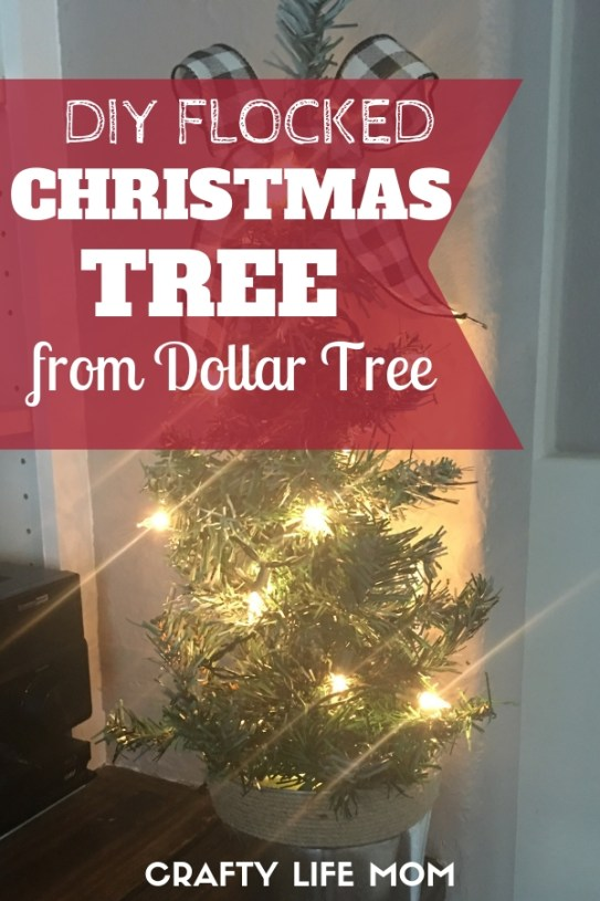 Create a DIY Flocked Christmas tree using items form the Dollar Tree. This simple DIY project will having you spending less and enjoying the holidays so much more!