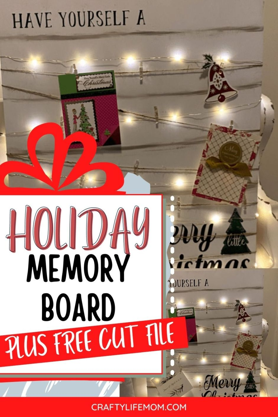 Learn to create a DIY Memory Board to showcase all of the holiday cards and photos you will be getting this year. This DIY Memory Board lights up and is perfect to display practically anywhere in your home.