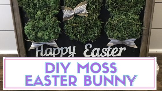 Create this DIY Moss Easter Bunny home decor project using items mostly from the Dollar Tree. I love this project because it of its farmhouse style as opposed to tradtional decor. #easterdiy #mossbunny #mossbunnydiy #mosscraftideas #moss #easter #eastercrafts