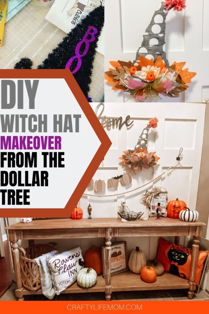 Create this adorable DIY Witch Hat using items from the Dollar Tree. This tutorial shares a fun twist on a Halloween favorite by re-creating a fall home decor vibe on a tinsel witch hat door hanger. Mix Halloween and Fall decor with this simple tutorial. #dollartree #halloween #witch hat #diycrafts