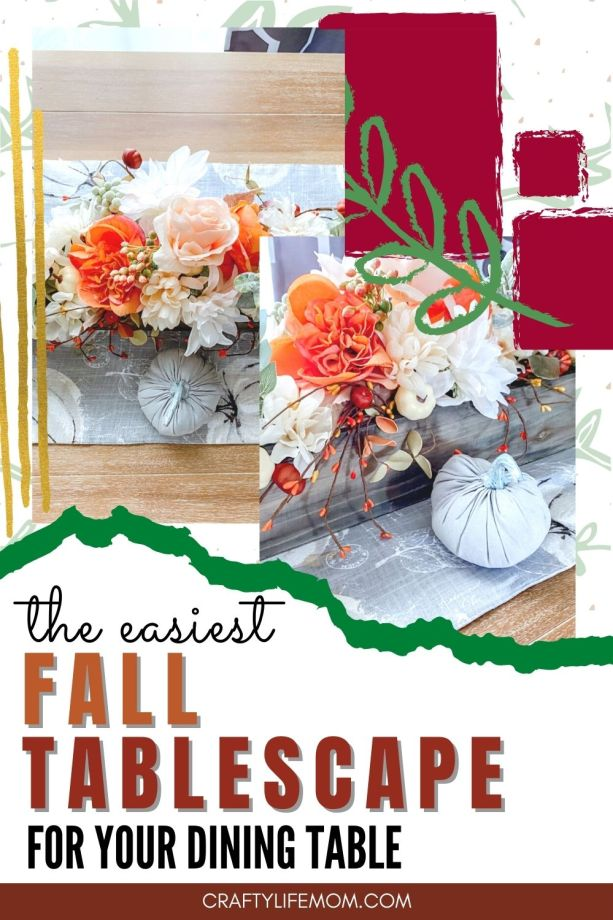 Your tablescape doesn't have to be expensive or very elaborate to make it look beautiful. Using inexpensive items and what you have on hand with a few seasonal items makes for a great Fall Tablescape. #fall #table #tablescape #falldecor #decor #falltable