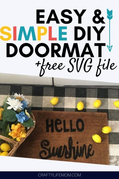Paint and Stencil your own doormat with paint and stencils. This easy DIY doormat is simple to create, plus includes a free design and SVG cut file. DIY-doormat-painted-stencil #diydoormat #stencil #doormat #DIYfrontdoor #frontporch