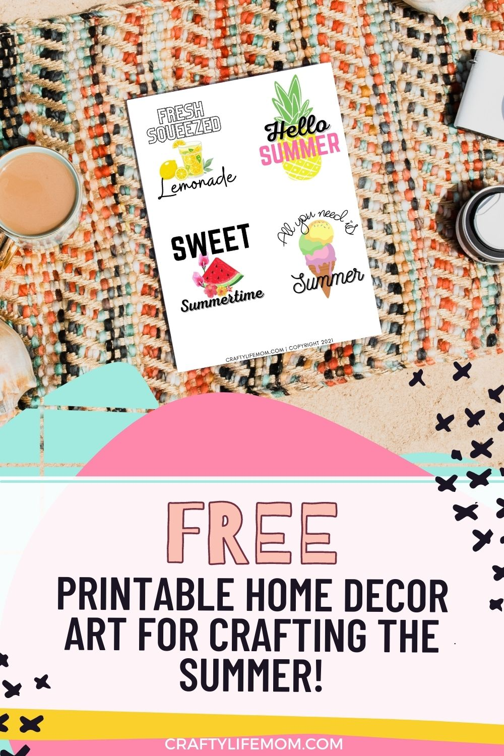 Summer Printable page perfect for summer crafting and decorating