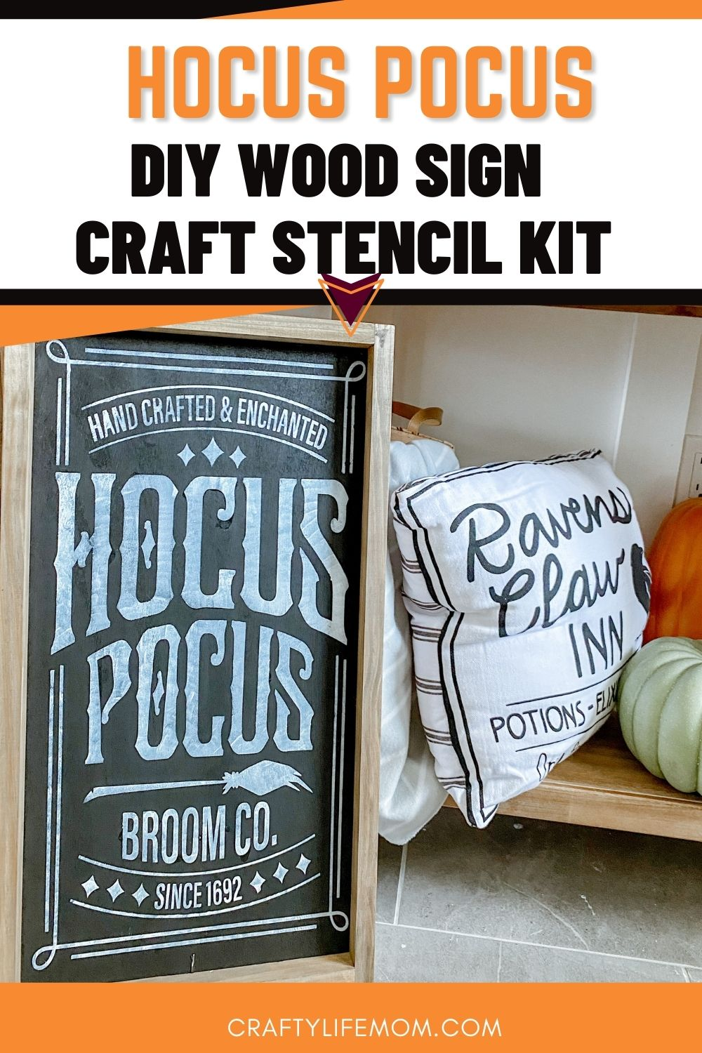 Create this cute Hocus Pocus Wood Sign using this easy to follow wood sign craft kit. This kit comes with everything you need excluding paint to create unique Halloween decor in your home. #halloween #hocuspocus #halloweencraft