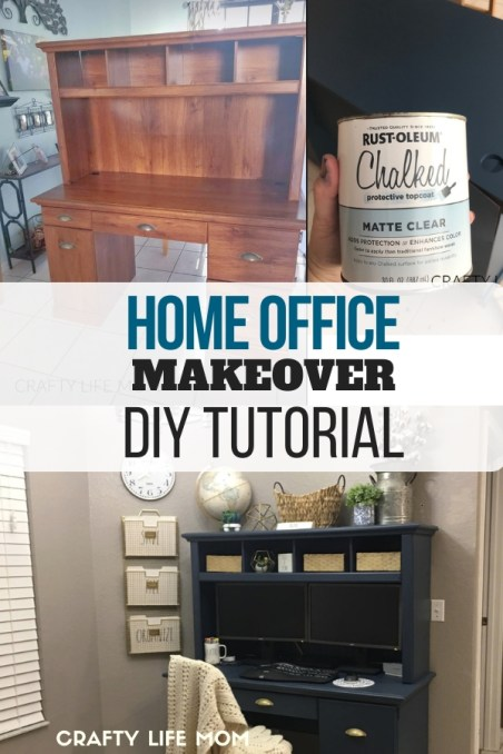 DIY home office makeover. Turn any breakfast nook into a beautiful home office space using an old desk, paint and accessories. This tutorial shows how to create and style a space that is both functional and beautiful diy-home-office #homeoffice makeover #diydesk #painteddesk