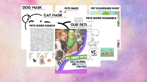 The printable pack features 10 sheets of fun. Included with the pack is a word search, word scramble, scavenger hunt, maze, counting and pattern sheets, and coloring. Plus you can color and cut a cat and dog out and create a fun mask and use it with make-believe play time.