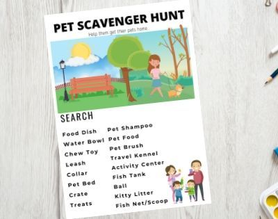 Pets Printable Scavenger Hunt