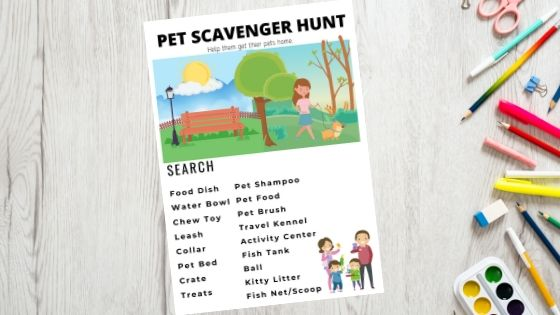 Free Printable Pets Scavenger Hunt. Have fun with your kids and your pet searching for all the things related to pets. Take it with you in the car while running errands or use inside your home. Either way this printable is sure to be a fun win with your kids. #freeprintable, #kidsprintable #scavengerhunt #scavengerhuntprintable #freebie #kidscraft