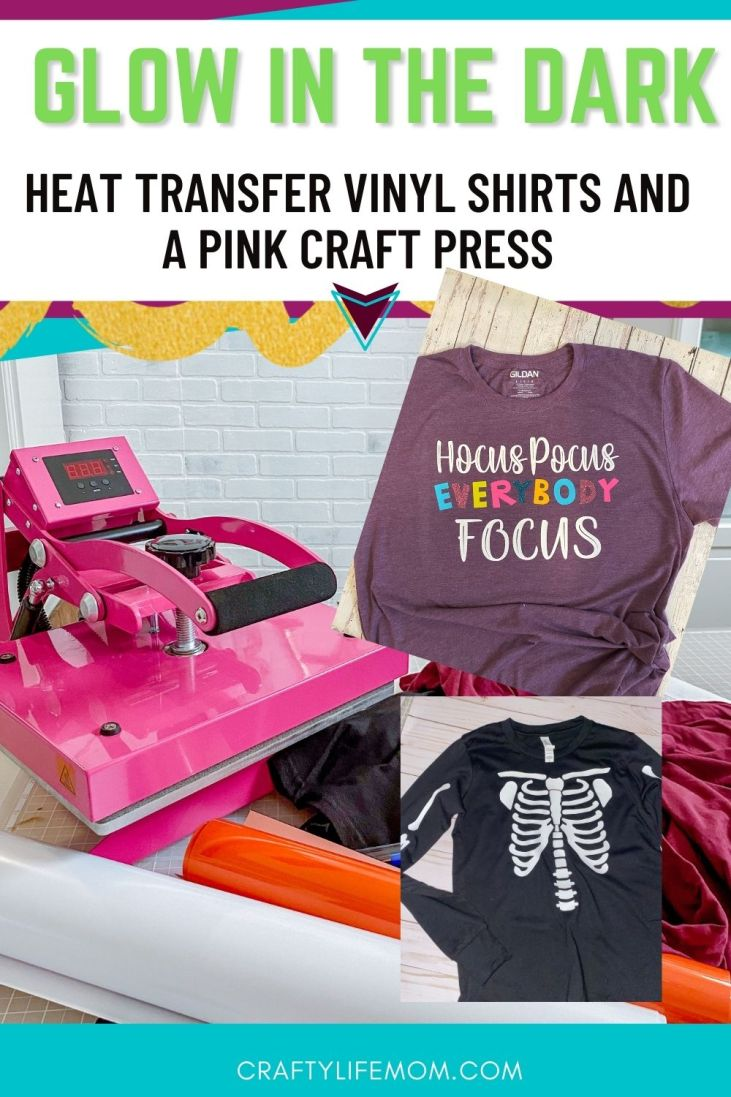 Learn to create a fun glow in the dark shirt with Stahls Glow In the Dark Heat Transfer vinyl. I am going to show you three easy shirts that I created for Halloween using SVG cut files, heat transfer, and a craft press.  #stahls #ultraweed #ultraweedusa