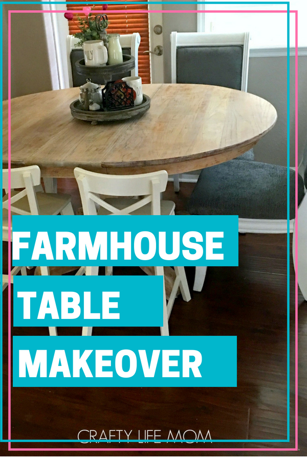 DIY Farmhouse Table tutorial. How to strip, sand and apply a new natural stain to your dining table. This tutorial provides materials used and steps.