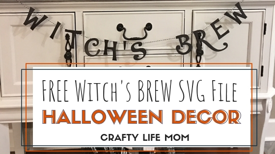 Free Printable Halloween Decor Witch's Brew Banner. Download and cut this file and make this banner in minutes to decorate your home or coffee station this Halloween season. Includes the SVG and Silhouette Studio files. A super cute DIY that is easy and quick.