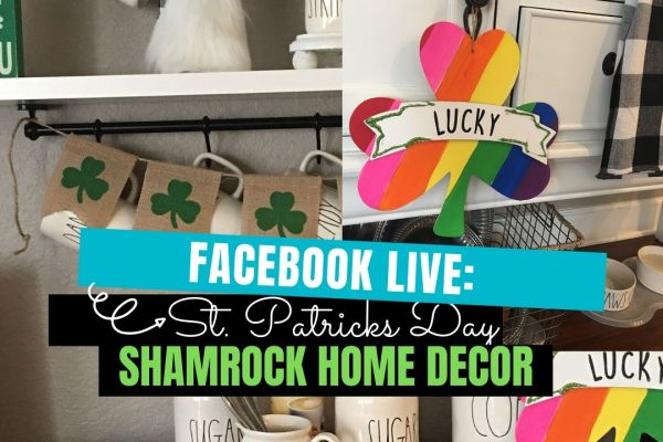 Create this St. Patrick's Day Rainbow Shamrock home decor door hanger using items mostly from the Dollar Tree. This rainbow-painted Shamrock will brighten any space within your home. I added this simple and easy DIY piece to my coffee bar for a fun and festive look. #rainbows #shamrockdiy #stpatty'sdaydecor #shamrockdecor