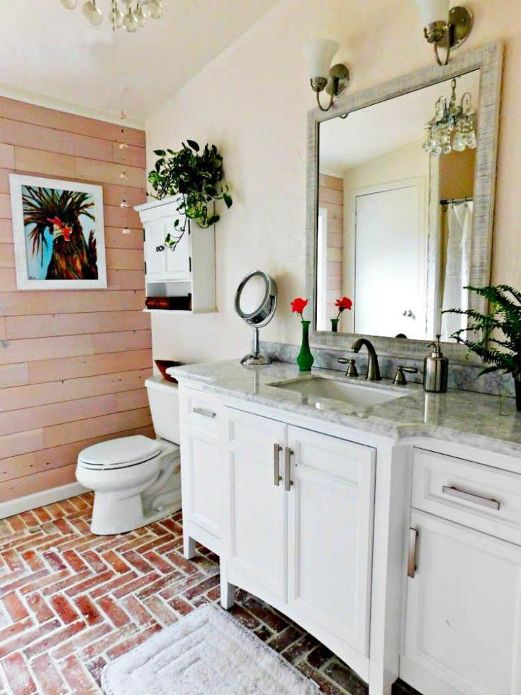 brick tile floor brick veneer bathroom