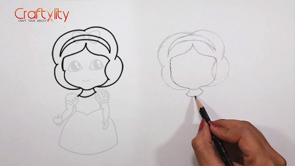 How to draw cute little Snow White - 04