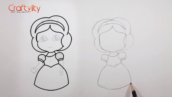 How to draw cute little Snow White - 08