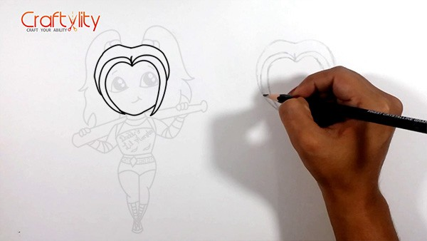 How to draw cute little Harley Quinn - 03