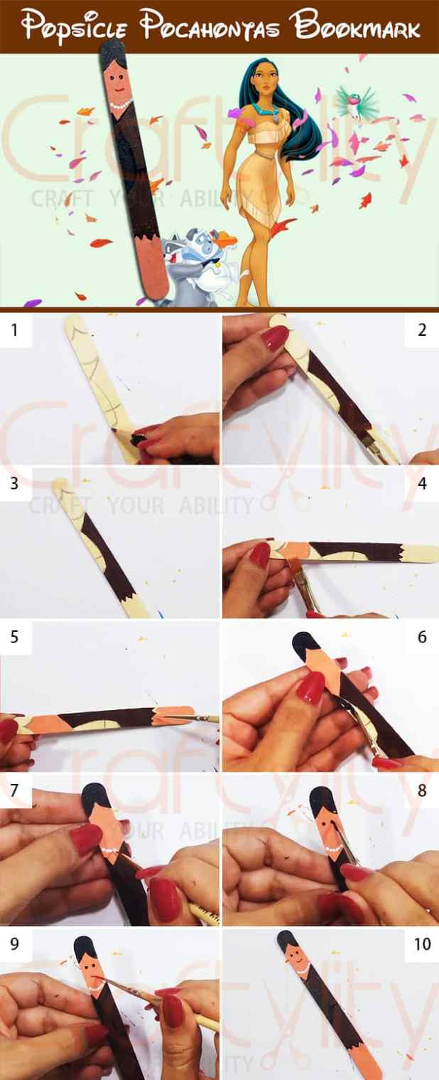 Popsicle Disney Pocahontus Princess Bookmarks