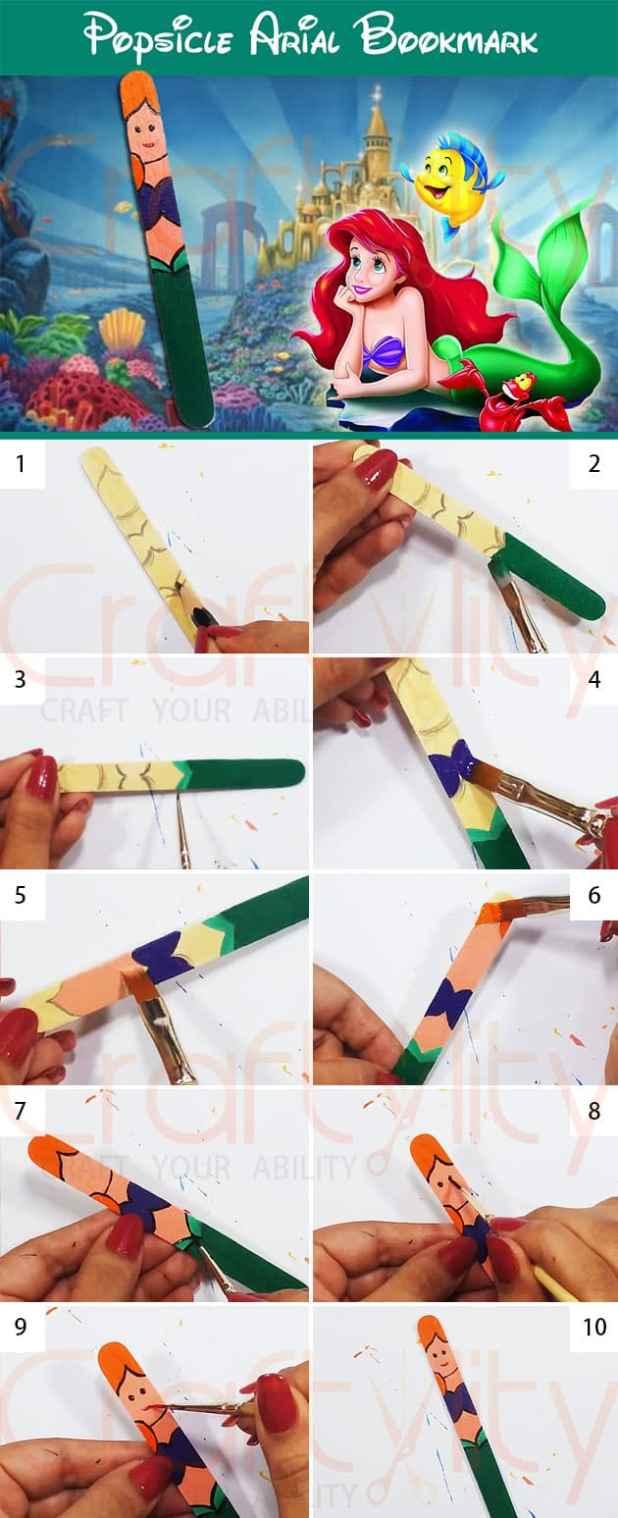 Popsicle Disney Arial Princess Bookmarks