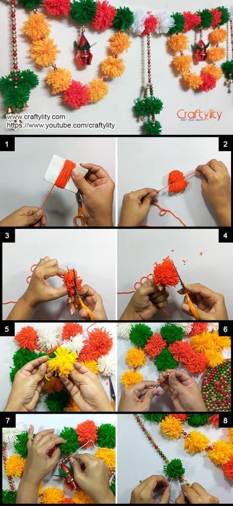How To Make Easy Woolen Pom Pom Toran For Festive Decoration