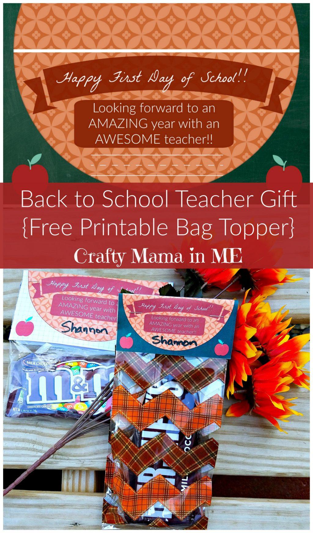 Back To School Teacher T Free Printable Bag Topper