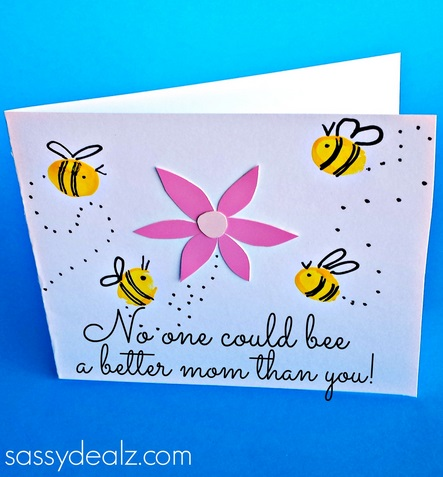 Fingerprint Bee Mothers Day Card For Kids To Make