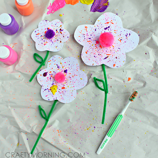 toothbrush-paint-splatter-flowers-kids-craft