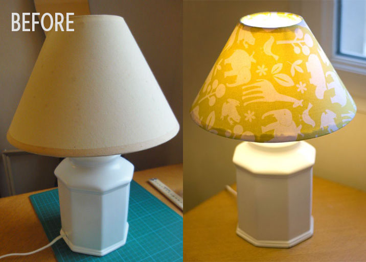 Marianne's before and after fabric-covered lampshade, photos