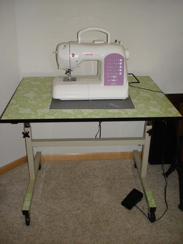 Carrie's wallpapered sewing table, after photo