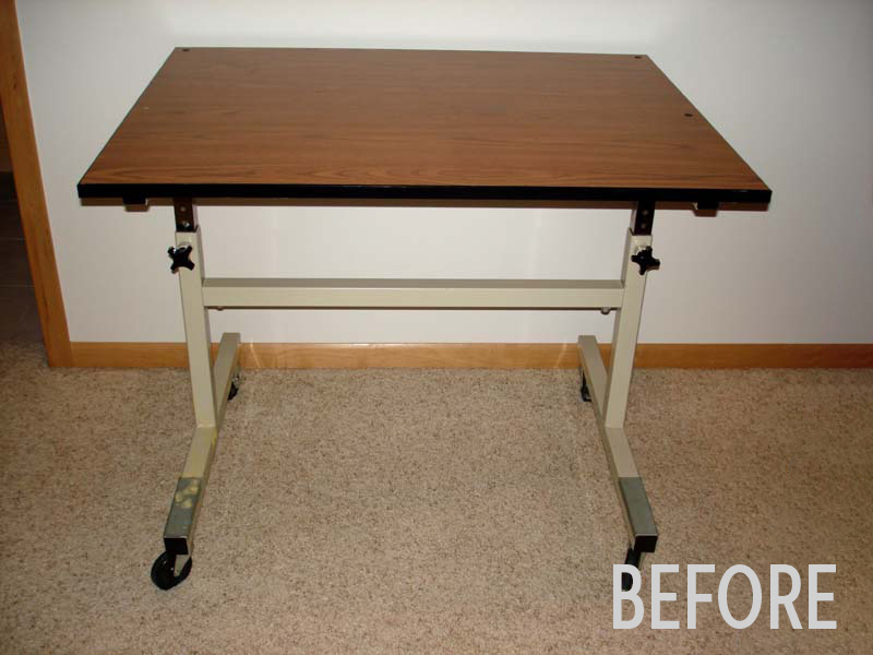 Carrie's wallpapered sewing table, before photo