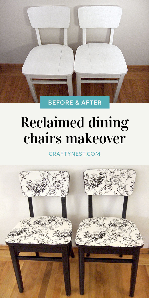 Crafty Nest reclaimed dining chairs makeover Pinterest photo