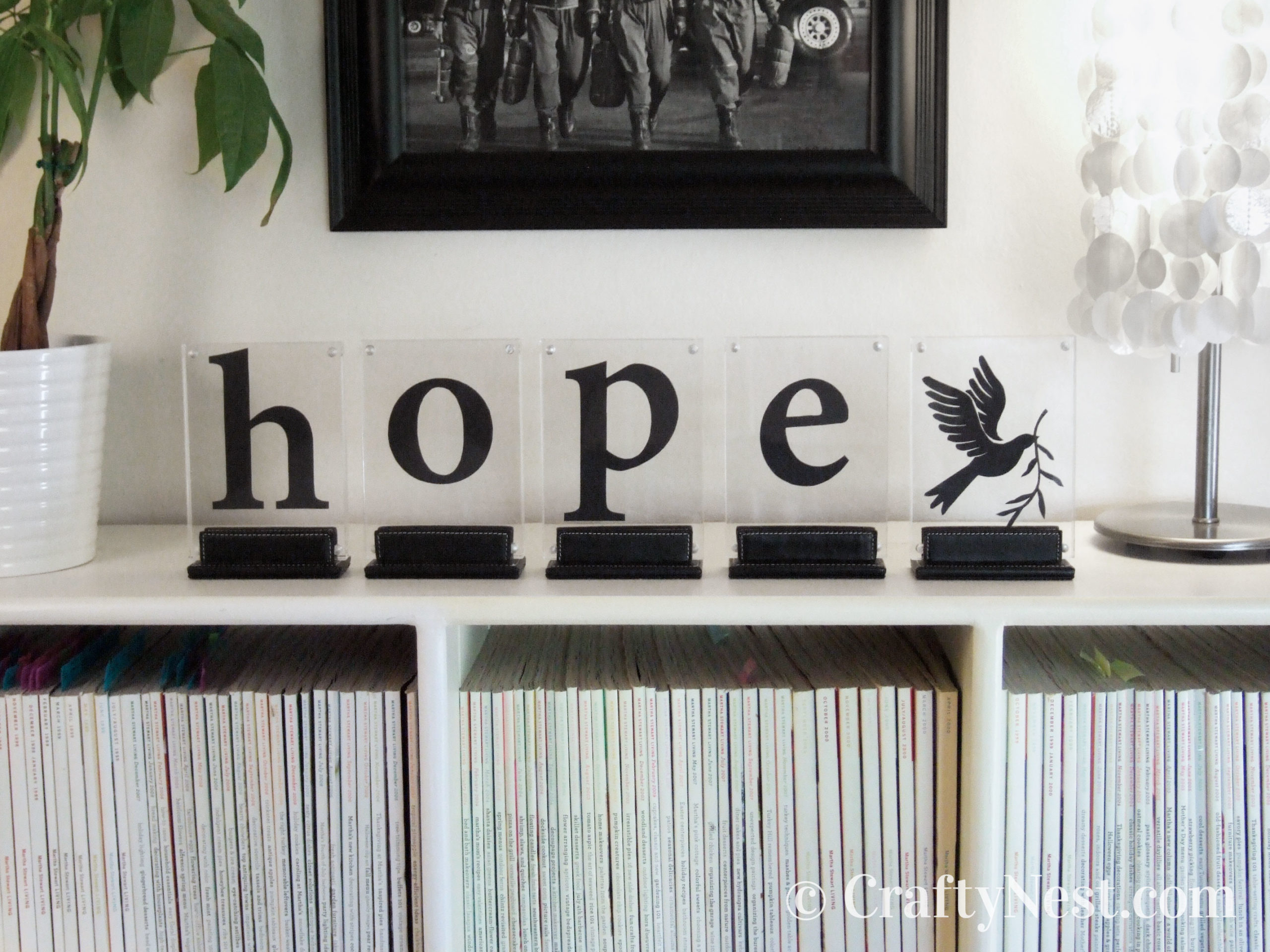 The word hope spelled out in picture frames, photo