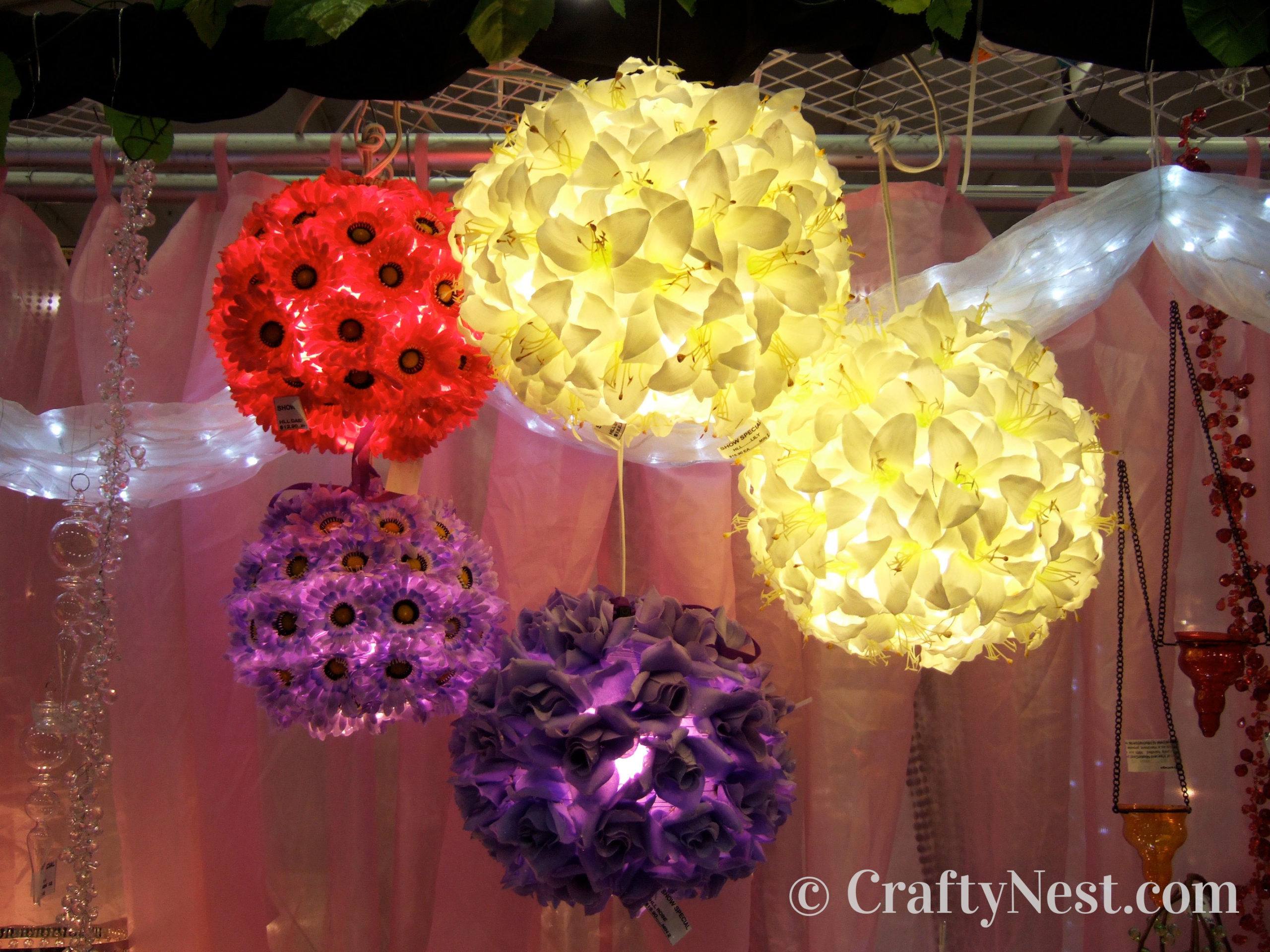 Brightly colored floral paper lanterns, photo