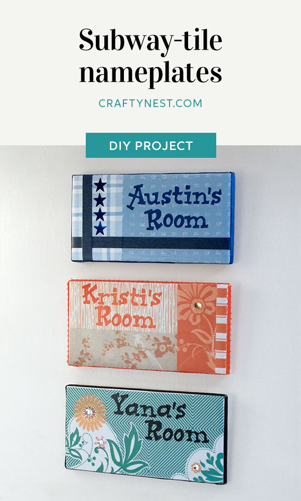 Crafty Nest camp craft subway tile name plates Pinterest image