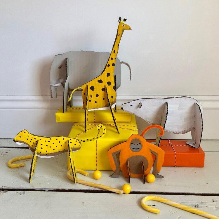 Cardboard animals, photo