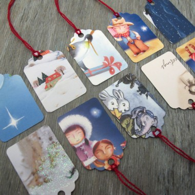 Recycled Christmas card gift tags, photo