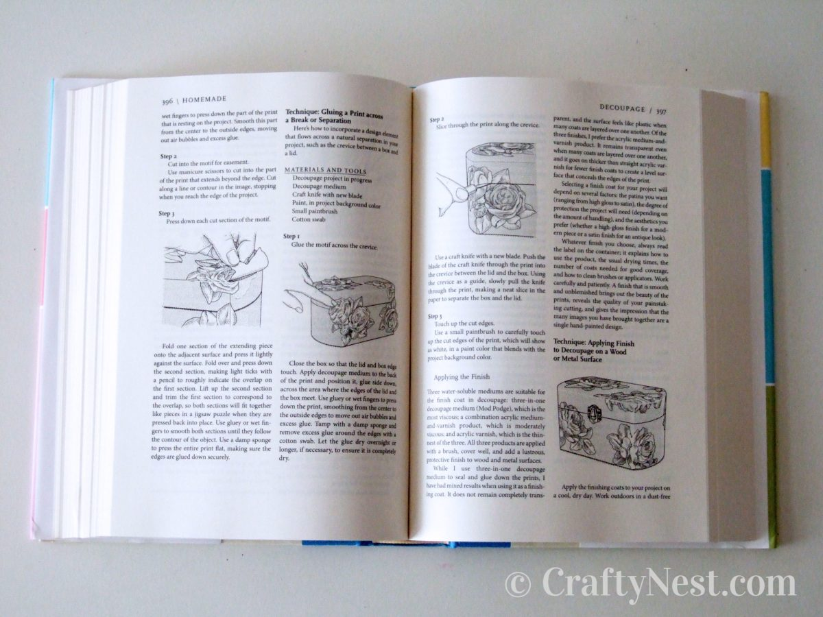Homemade: The Heart and Science of Handcrafts open book, photo