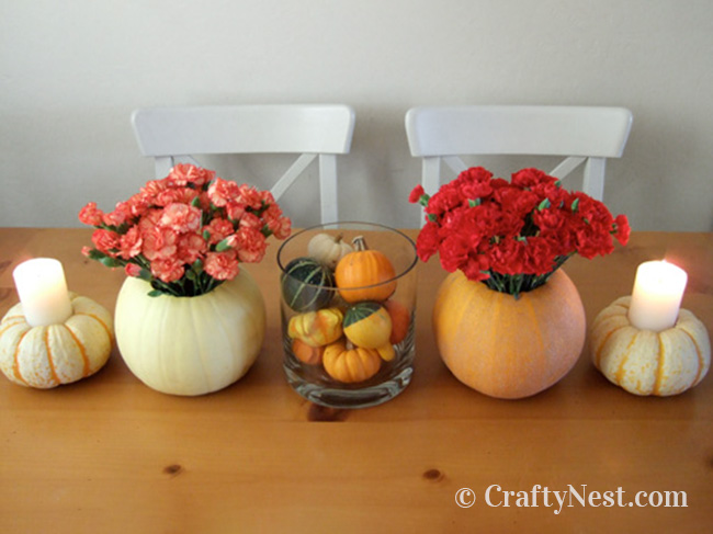 Pumpkins made into vases and candle holders, photo