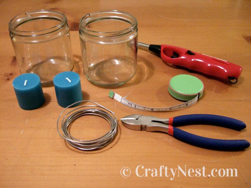 Supplies for making hanging jar lanterns, photo
